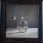 Kate Breakey: Single Rose, Round Glass Bottle, 2020